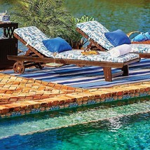 Outdoor Eucalyptus Wood Chaise Sun Lounger Pool Chair With Wheels Espres... - $247.45