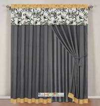4-Pc Oasis Floral Garden Curtain Set Yellow Gray Black Off-White Valance Drape - $40.89
