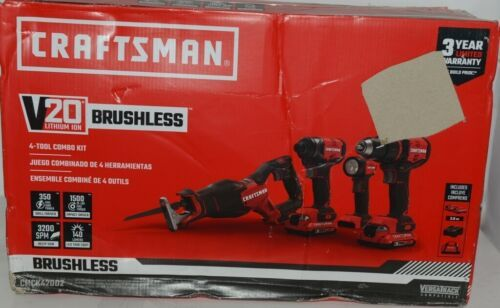 Craftsman CMCK420D2 4 Tool Combo Kit V20 Lithium Ion BRUSHLESS