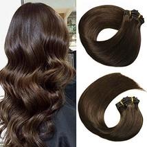 HUAYI Dark Brown Natural Color 2# 14inch 120g 7Pcs Clip In Hair Extensions Human
