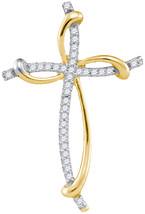 10k Yellow Gold Womens Round Diamond Slender Curved Open Cross Pendant 1/10 - $107.00