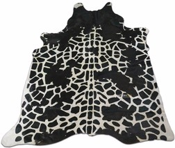 Giraffe Cowhide Print Rug: 7.5' X 6 'ft Black and White Print Cow Hide Rug i-865 - $266.31