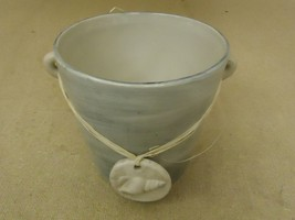 TII Collections Flower Pot Beige/Gray Seashell Round P1741 Ceramic - $18.68