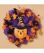"Raz Imports wreath purple orange fall Halloween pumpkin 22"" - $62.99"