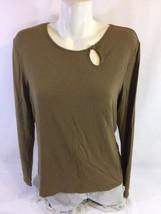 Talbots Women Blouse Brown Size Large Made In Lorena Lone Sleeve Bin 40#17 - $6.80