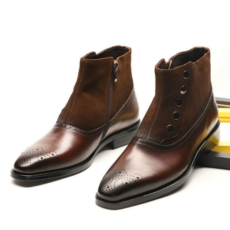 Handmade Men's Brown Leather and Suede Brogues Style High Ankle Buttons Zipp