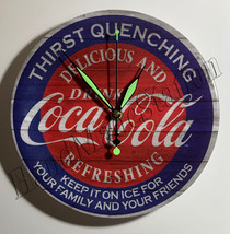 "Coke Coca-Cola Delicious Refreshing 9"" Circle Wall mount Clock NEW"