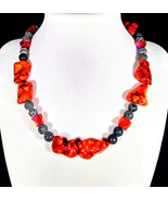 "16 1/2"" Orange howlite, black crackle agate & artglass necklace - $75.00"