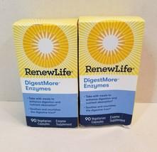 NEW LOT OF 2 BOTTLES of Renew Life Digest More Eynzymes 90 Vegetarian Ca... - $29.99