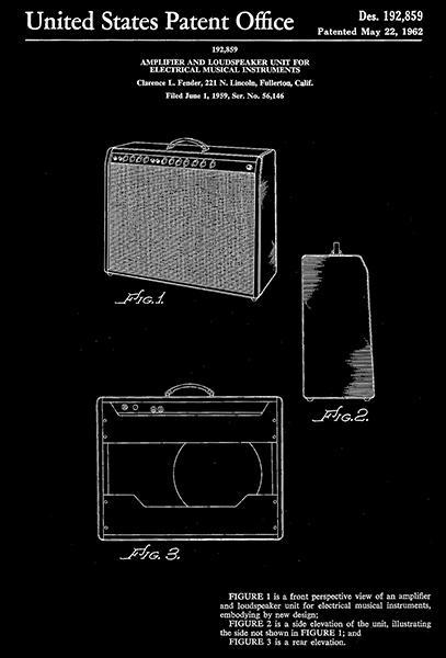 Primary image for 1962 - Fender Amplifier And Loudspeaker - Patent Art Poster
