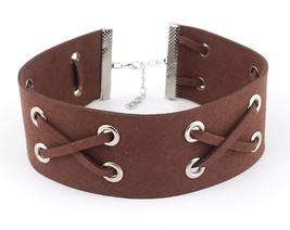 Leather Bib Brown Choker Necklace Ribbon Knotted Suede Everyday Fashion ... - $22.49