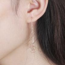 Ear Thread Series 18k Rose Gold Mesh Chain Hollow Star Dangle Earrings image 6