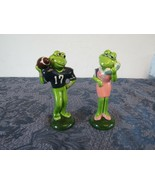 "Vintage Norcrest Frog Football Phone Ceramic Figurine Pair 5"" Hand Decor... - $28.75"
