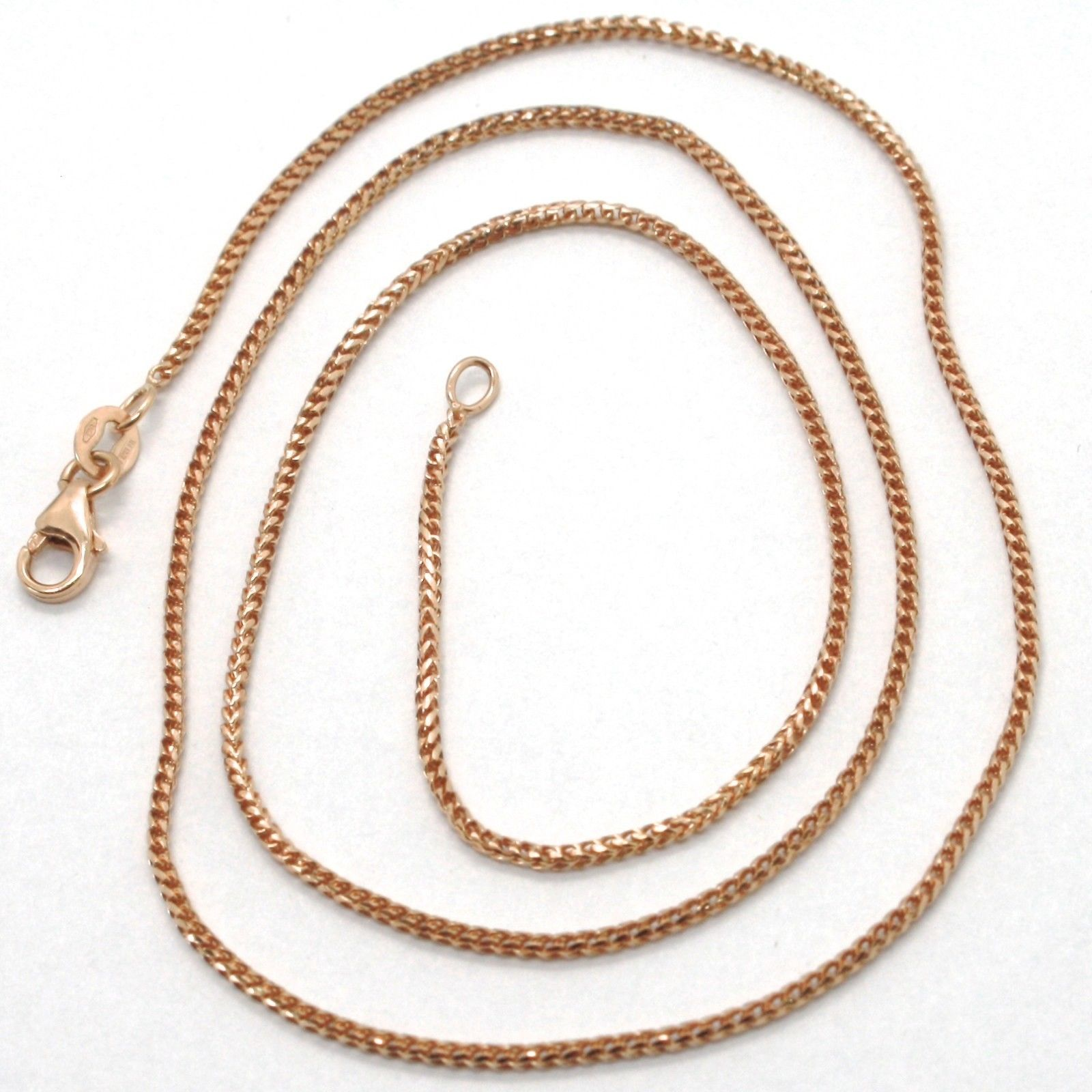 18K ROSE GOLD CHAIN 1.2 MM SQUARE FRANCO LINK, 17.7 INCHES, 45 CM MADE IN ITALY