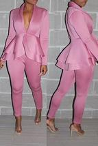 Work Deep V Neck Layered Pink Two-piece Pants Set - $33.52