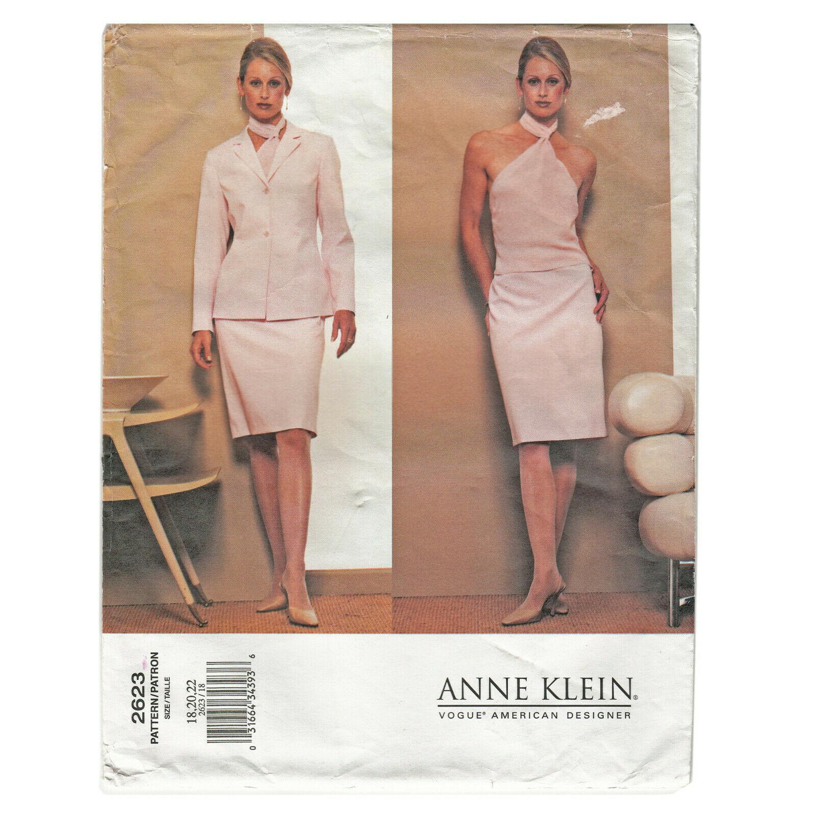 Designer JACKET SKIRT TOP   Anne Klein   Szs 18-22   VOGUE UNCUT Sewing Pattern
