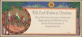 Vintage Christmas Card Art Deco Wise Men 1929 Gold Trim Star of Bethlehem - $8.90