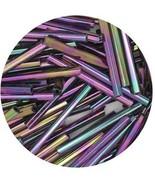 Czech Glass Bugle Beads 25mm ( 1 inch ) Metallic Green Iris - $9.97