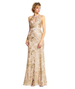 Adrianna Papell Sequin Filigree Floral Halter Dress Open Back, AA953, 6M - $118.79