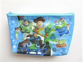 Disney Pixar TOY STORY Woody, Buzz & Alien Blue Cosmetic / Makeup Pouch - $8.55