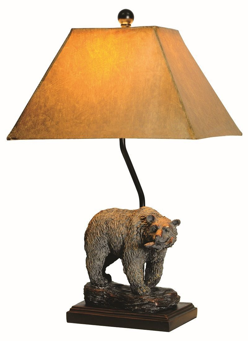 "Bear Table Lamp Rustic Cabin Lodge Decor Bears Wildlife 24""H"
