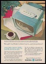BLUE GE Portable Modern Design Television 1957 Photo AD - $10.99
