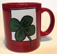 Waechtersbach Germany Red Mug Green Shamrock - $12.86