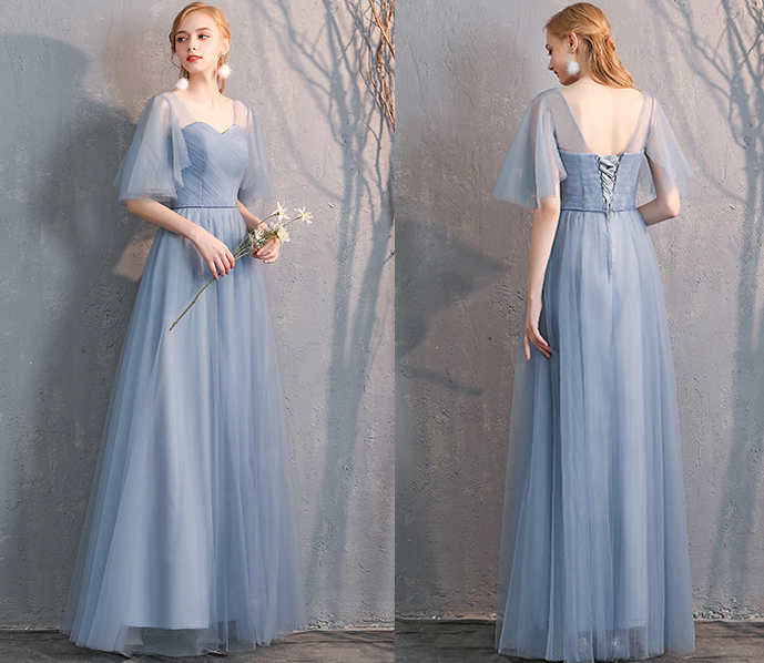 Bridesmaid tulle dress dusty blue 12