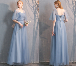 Light Gray Burgundy Blush Pink Blue Bridesmaid Dress Tulle Wedding Dress Sleeves image 11
