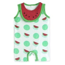 Cute Sleeveless Infant Bodysuit Toddlers Onesies Baby Romper With Bib Watermelon