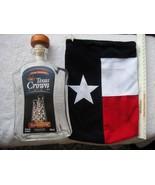 Texas Crown Club 750mlHeavy Glass Whisky Bottle Velvet Flag Fabric Bag L... - $20.00