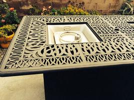 Outdoor Propane Fire Pit bar height double burner table Elisabeth aluminum patio image 9