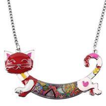 Bonsny Cute Happy Enamel Ladies Cat Themed Necklace / Choker image 4