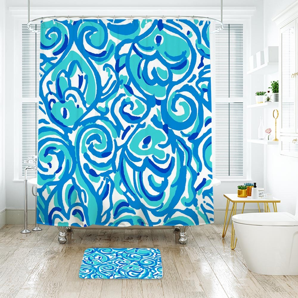 Primary image for Flower Lilly Indigo Chasing Tail 2 Shower Curtain Waterproof & Bath Mat Bathroom