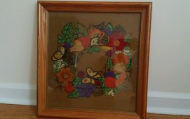 Vintage Hand Embroidered Crewel Needlepoint bird flowers wreath wood Fra... - $32.62