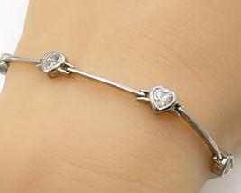 925 Sterling Silver - Vintage Cubic Zirconia Love Heart Bracelet - B2873 - $42.27