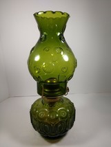 LAMP MOON & STARS LE SMITH GREEN ART GLASS OIL VINTAGE ANTIQUE - $64.35