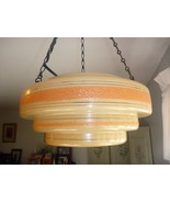 Art Deco Tiered Wedding Cake Hanging Ceiling Lamp Creamsicle Orange - $158.75