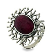 Solid Sterling Silver Handmade Ruby Flower Bali Ring»R314 - £31.80 GBP