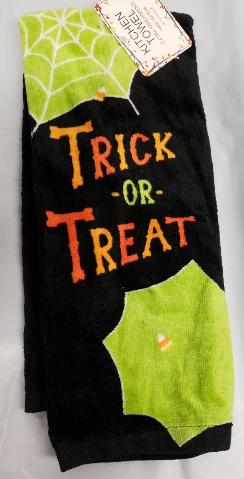 "Primary image for 1 PRINTED KITCHEN TERRY TOWEL (15"" x 25"") HALLOWEEN, TRICK OR TREAT & SPIDER, AM"