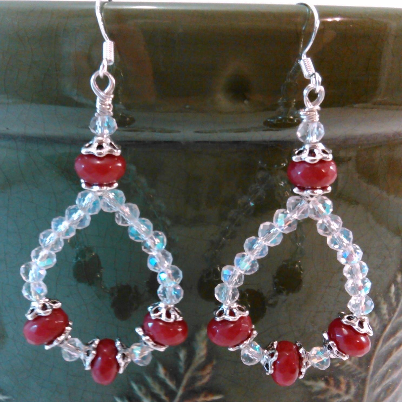 Ruby and Crystal Loop Earrings Handmade Wire Wrap by Deboriah