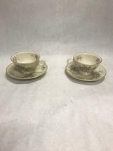 2 Vintage Theodore Haviland Apple Blossom Footed Tea Cup Saucer Coffee - $21.49