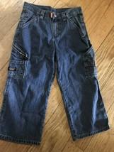 Wrangler Boys 8 Husky Jeans Medium Wash Denim CARGO Painter's Pants POCK... - $14.45