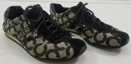 N) COACH Kathleen Black Gray White Signature Logo Shoes Women's Size 5.5M - $27.71