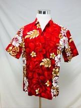 Royal Creations Hawaiian Shirt Loud Woodie Surfboard Floral Red Gold L   - $18.69