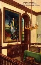 LINEN POSTCARD-OFFICE OF THE CLERK, HOUSE OF BURGESSES, WILLIAMSBURG, VA... - $2.94