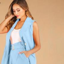 Solid Two 2 Piece Set Women Double Breasted Sleeveless Blazer Coat and Shorts Su image 3