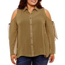 Women's Sexy Shoulder Out Long Sleeve Adjust Button Down Size 3XL Plus P... - $13.95