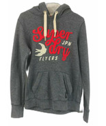 Superdry Women's Heather Blue Graphic Long Sleeve Hooded Fleece Sweatshi... - $24.31