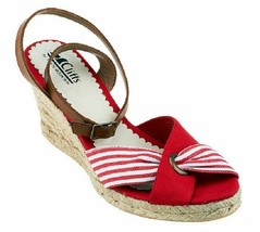 Cliffs by White Mountain Sister Espadrille Sandals, Red/White, Size 9.5M - $29.69